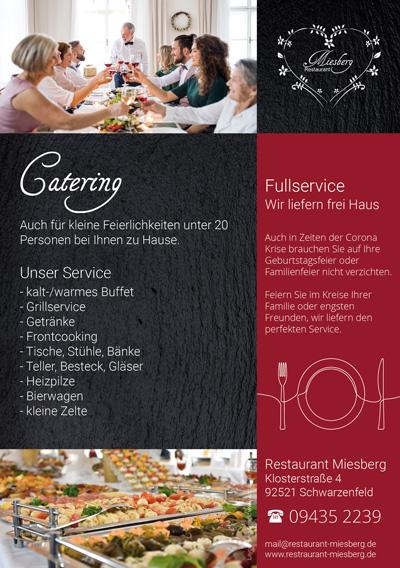Catering und Partyservice Flyer Restaurant Miesberg