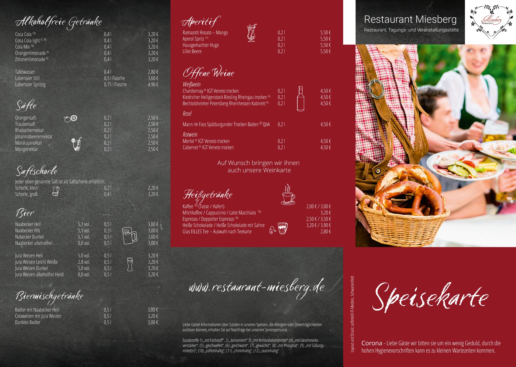 Biergartenkarte Restaurant Miesberg
