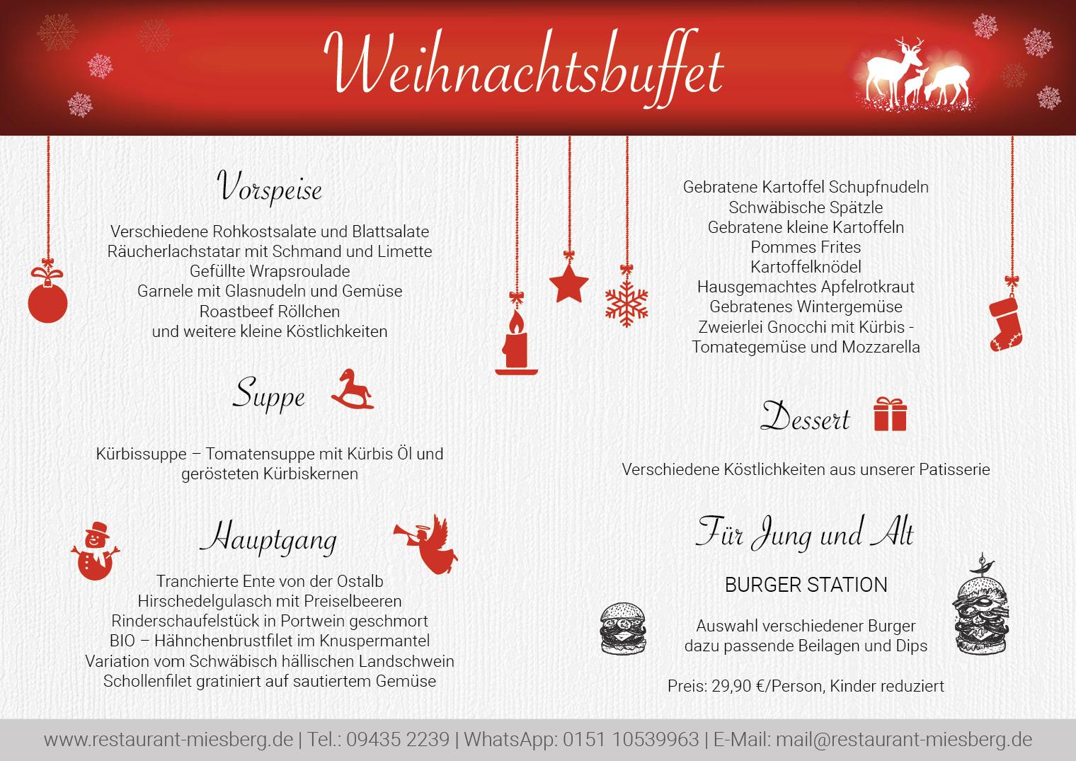 Weihnachtsmenü Restaurant Miesberg